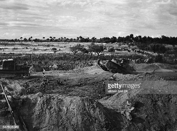 Spain civil war 193639 Condor legion Battle of ther Ebro Advancing against Gaeta hill Gernman tanks followd by spanish nationalist infantry...