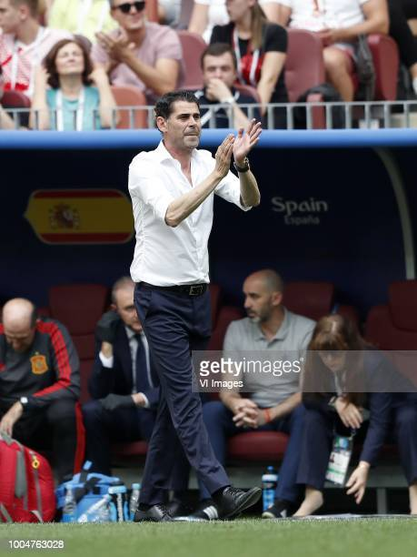 Spain coach Fernando Hierro during the 2018 FIFA World Cup Russia round of 16 match between Spain and Russia at the Luzhniki Stadium on July 01 2018...