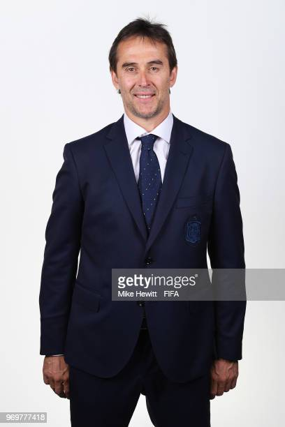 Spain coach Julen Lopetegui poses for a portrait during the official FIFA World Cup 2018 portrait session at FC Krasnodar Academy on June 8 2018 in...
