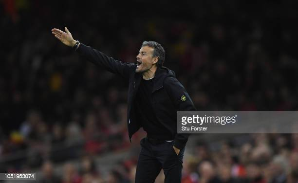 Spain coach Luis Enrique reacts on the touchline during the International Friendly match between Wales and Spain on October 11 2018 in Cardiff United...