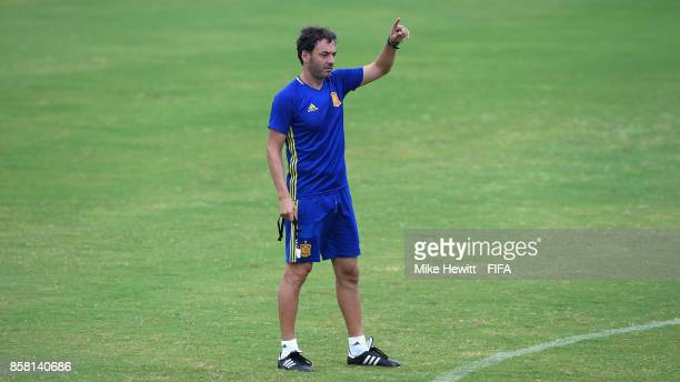 Spain Coach Santi issues instructions during a Spain training session at the Panampilly Nagar Sports Academy ahead of the FIFA U-17 World Cup India...