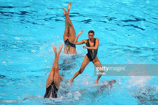 Spain compete during the Synchronized Swimming Free Combination Final on day eight of the 15th FINA World Championships at Palau Sant Jordi on July...