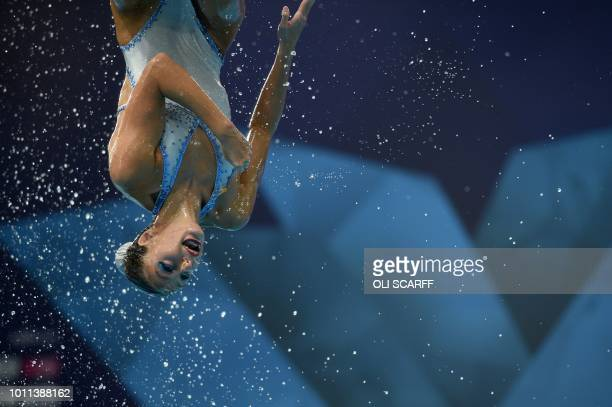 TOPSHOT Spain compete in the combination free routine final at the Scotstoun Sports Campus during the 2018 European Championships in Glasgow on...