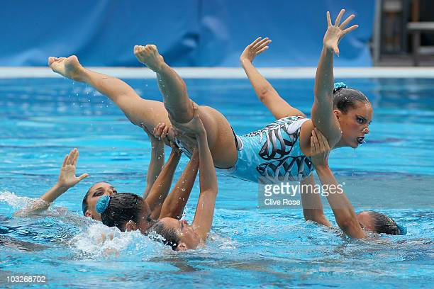Spain compete in the Team Free routine of the Syncronised Swimming during the European Swimming Championship at the Hajos Alfred Swimming complex on...