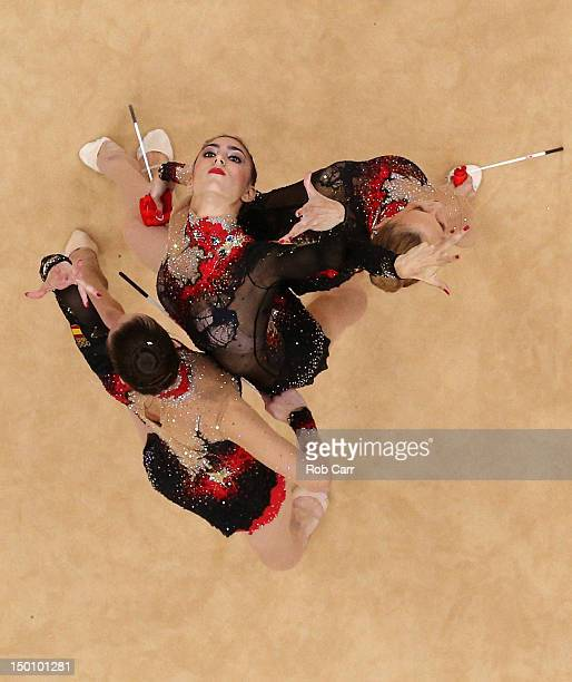 Spain competes during the Rythmic Gymnastics Group AllAround qualifying on Day 14 of the London 2012 Olympics Games at Wembley Arena on August 10...