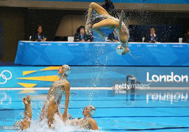 Spain competes in the Women's Teams Synchronised Swimming Free Routine final on Day 14 of the London 2012 Olympic Games at the Aquatics Centre on...