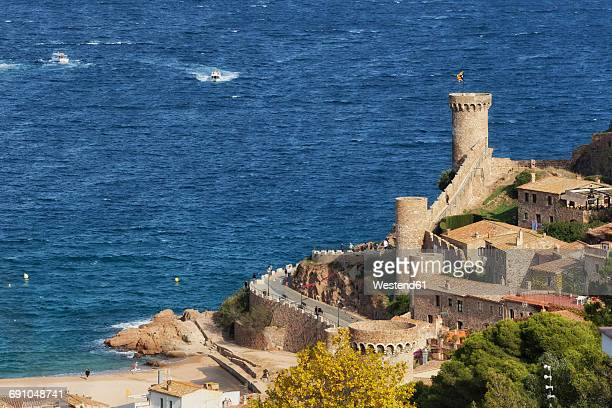 Spain, Costa Brava, Tossa de Mar, Old Town and Mediterranean Sea