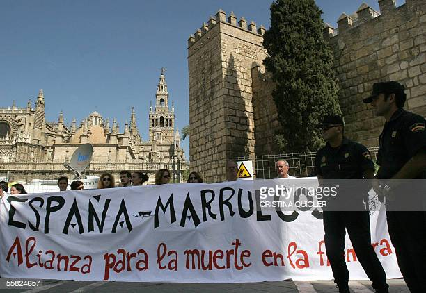 Demonstrators protests against the mistreatment of immigrants by the Guardia Civil in the Spanish enclaves of Melilla and Ceuta in Morocco during a...