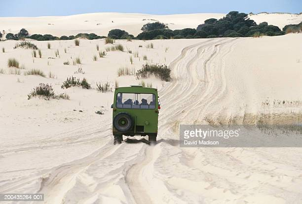 Spain, Donana National Park, tourists in SUV driving across sand dunes