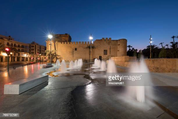 Spain, Elche, Altamira Palace at blue hour