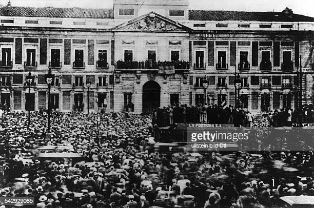Spain Events prior to the Spanish civil war proclamation of the Republic from the balcony of Madrid City Hall after local and municipal elections...