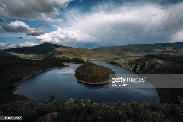 spain, extremadura, las hurdes, caceres, river, meander - extremadura stock pictures, royalty-free photos & images
