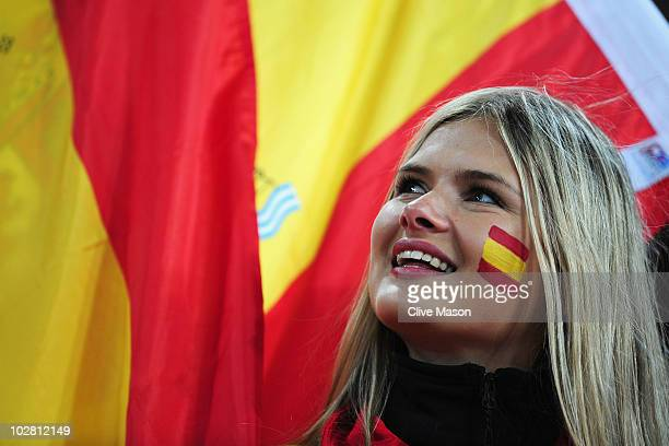 Spain fan enjoys the atmosphere prior to the 2010 FIFA World Cup South Africa Final match between Netherlands and Spain at Soccer City Stadium on...
