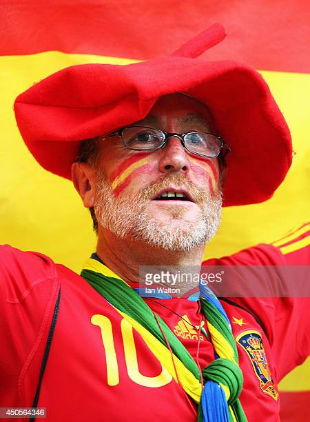 Spain fan holds a flag before the 2014 FIFA World Cup Brazil Group B match between Spain and Netherlands at Arena Fonte Nova on June 13 2014 in...
