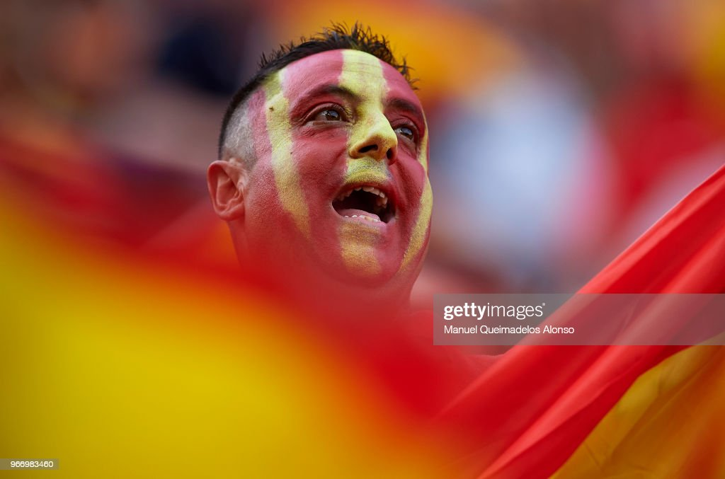 A Spain fan shows his support prior to the International Friendly match between Spain and Switzerland at Estadio de La Ceramica on June 3, 2018 in Villareal, Spain.