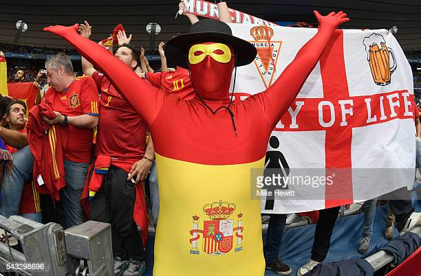 Spain fan shows his support prior to the UEFA EURO 2016 round of 16 match between Italy and Spain at Stade de France on June 27 2016 in Paris France