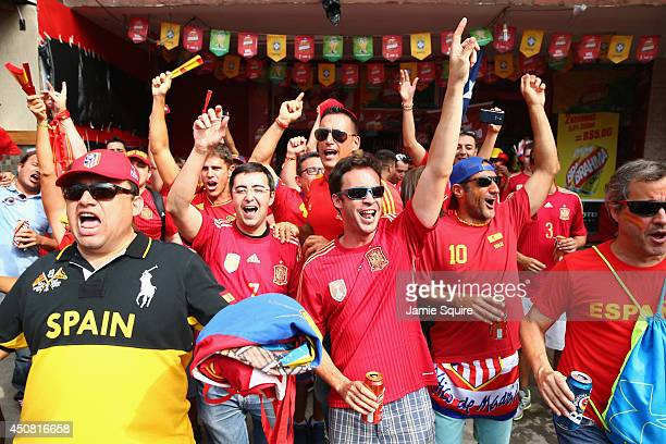 Spain fans cheer prior to the 2014 FIFA World Cup Brazil Group B match between Spain and Chile at Maracana on June 18 2014 in Rio de Janeiro Brazil