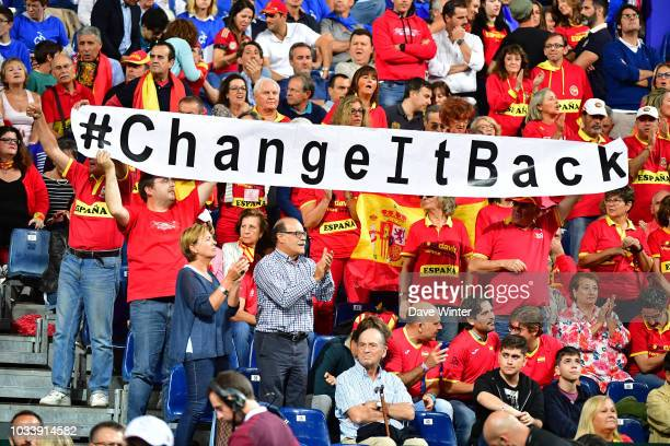 Spain fans complain about the changes to the tournament format during Day 2 of the Davis Cup semi final on September 15 2018 in Lille France