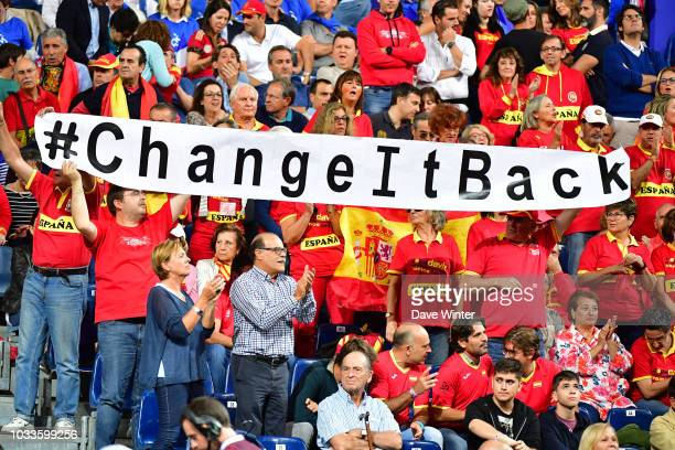 Spain fans complain about the new proposed format of the competition during Day 2 of the Davis Cup semi final on September 15 2018 in Lille France