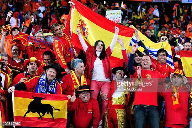 Spain fans enjoy the atmopshere ahead of the 2010 FIFA World Cup South Africa Final match between Netherlands and Spain at Soccer City Stadium on...