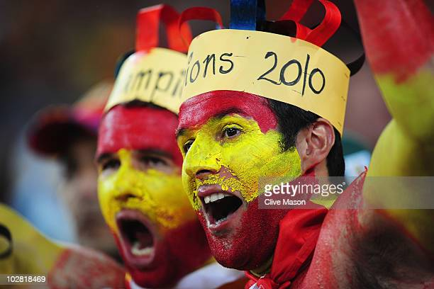 Spain fans enjoy the atmosphere during the 2010 FIFA World Cup South Africa Final match between Netherlands and Spain at Soccer City Stadium on July...