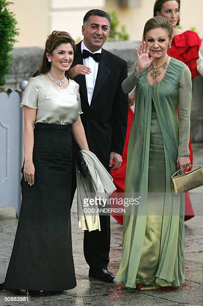 Farah Diba Reza Pahlavi son of the late Shahof Iran and his wifeYasmine Etemad Amini arrive to attend an official diner at the Pardo Palace in Madrid...