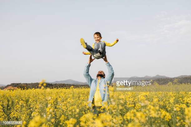 Spain, father and little son having fun  together in a rape field