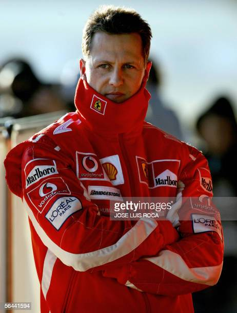Ferrari Formula 1 driver Michael Schumacher of Germany is seen in the pits 16 December 2005 during a private test session at the Jerez recetrack in...