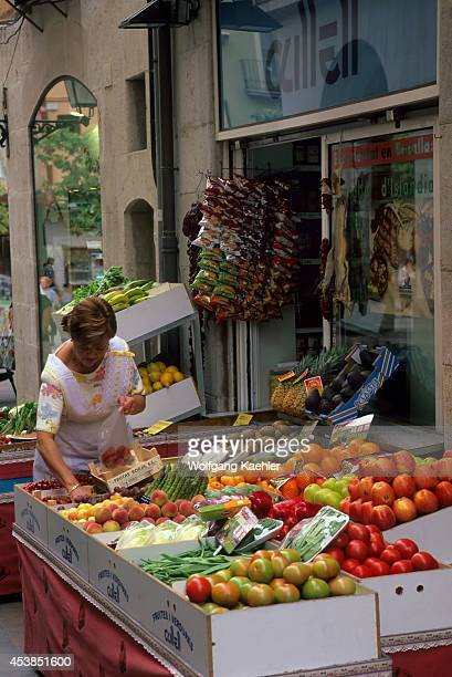 Spain Figueres Street Scene Fruit And Vegetable Stand