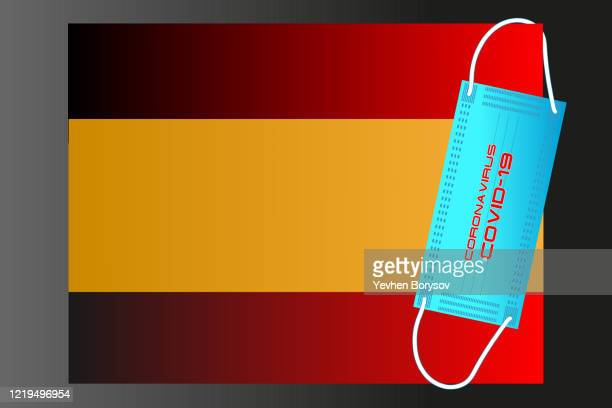 spain flag with vector illustration of disposable mask and covid-19 inscription - banner vector stock pictures, royalty-free photos & images