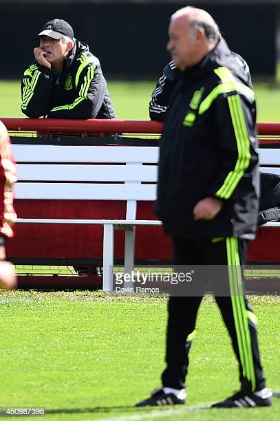 Spain Football Federation President Angel Maria Villar looks on as Head coach Vicente Del Bosque of Spain directs his players during a Spain training...