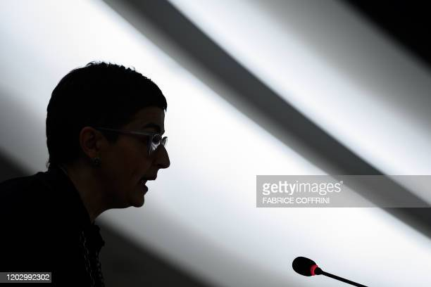 Spain Foreign Minister Arancha Gonzalez Laya delivers a speech during the opening of the UN Human Rights Council's main annual session on February 24...
