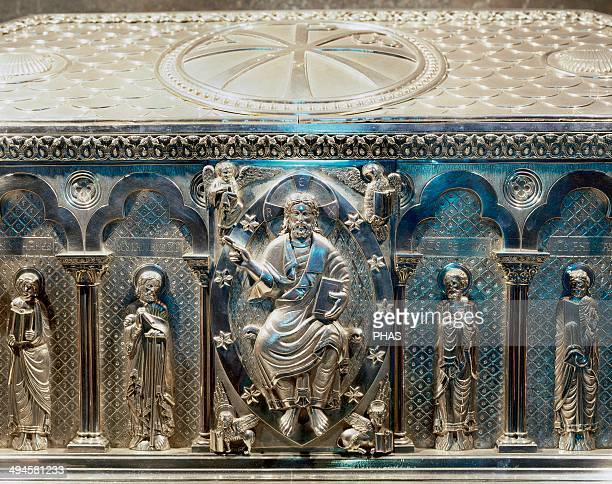 Spain Galicia Santiago de Compostela Cathedral The silver coffer holding the remains of St James Crypt Built in 19th century Detail Christ pantocrator
