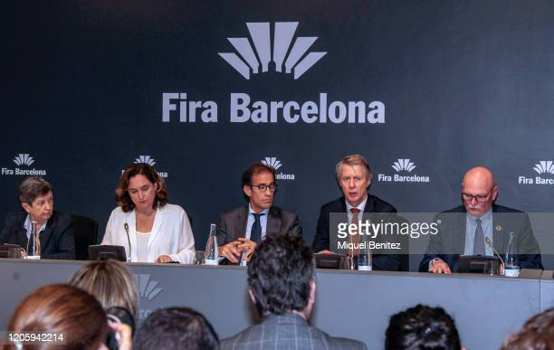 Spain Government Delegate in Catalonia Teresa Cunillera, Barcelona's Mayor Ada Colau, Chairman of the Board of Administration of Fira de Barcelona...