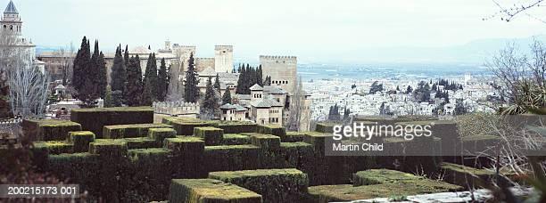 Spain, Granada, Alhambra, maze and Albaicin cityscape
