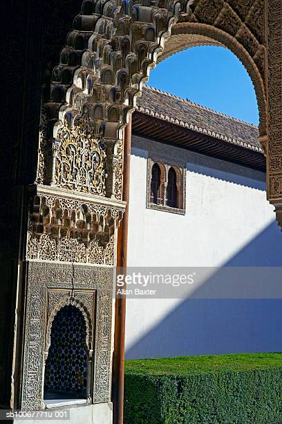 Spain, Granada, arch and window of the Alhambra