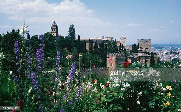 Spain Granada The Alhambra 9th century View of the walls and towers of the royal enclosure from the gardens of the Generalife