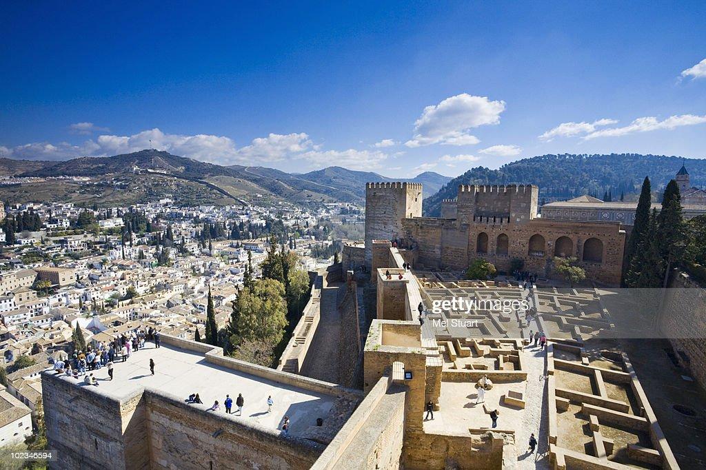 Spain, Granada, View over Alhambra : Stock Photo