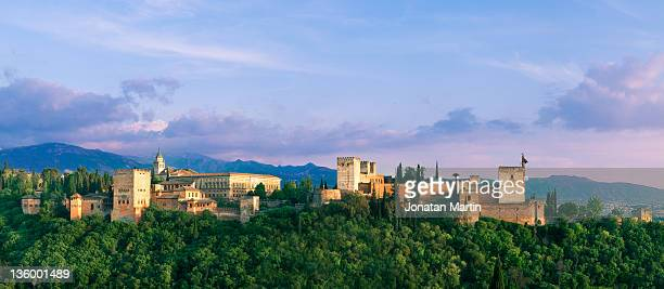 spain, grenada, alhambra palace at sunset - alhambra spain stock pictures, royalty-free photos & images
