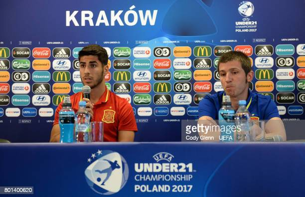 Spain head coach Albert Celades and Marco Asensio during a press conference ahead of their UEFA European Under21 Championship 2017 semifinal match...