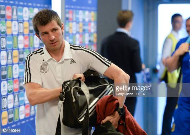 Spain head coach Albert Celades arrives before their UEFA European Under21 Championship 2017 final match against Germany on June 30 2017 in Krakow...