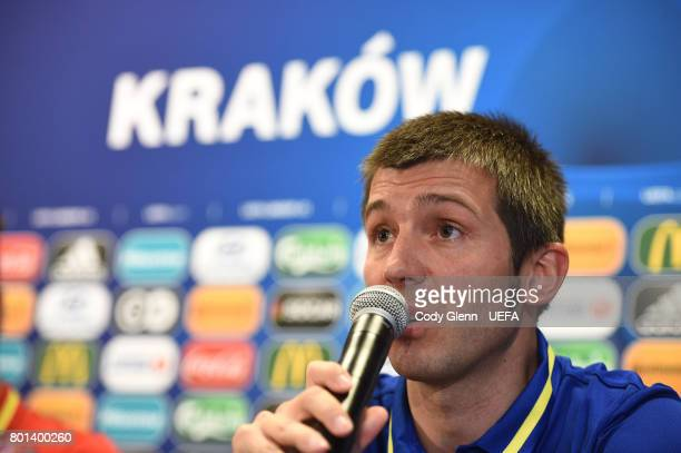 Spain head coach Albert Celades during a press conference ahead of their UEFA European Under21 Championship 2017 semifinal match against Italy on...