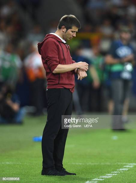 Spain head coach Albert Celades during their UEFA European Under21 Championship 2017 final match against Germany on June 30 2017 in Krakow Poland