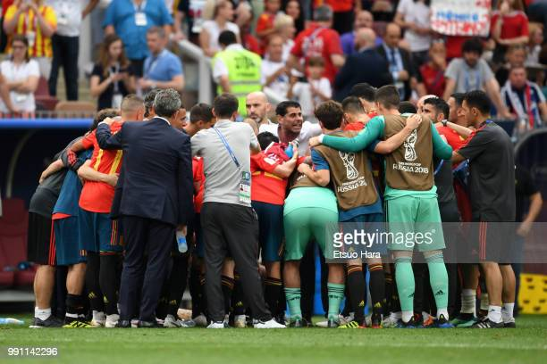 Spain head coach Fernando Hierro and players of Spain huddle during the 2018 FIFA World Cup Russia Round of 16 match between Spain and Russia at...