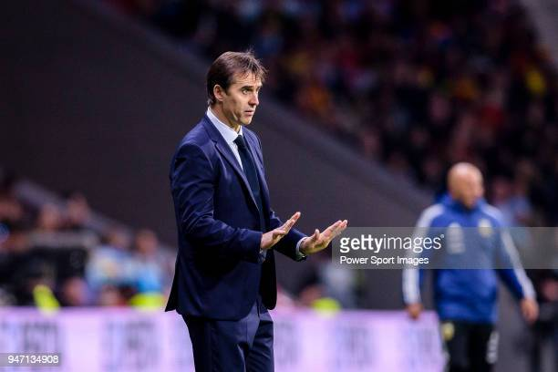 Spain Head Coach Julen Lopetegui gestures during the International Friendly 2018 match between Spain and Argentina at Wanda Metropolitano Stadium on...