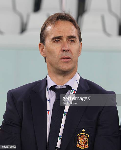 Spain head coach Julen Lopetegui poses during the FIFA 2018 World Cup Qualifier between Italy and Spain at Juventus Stadium on October 6 2016 in Turin