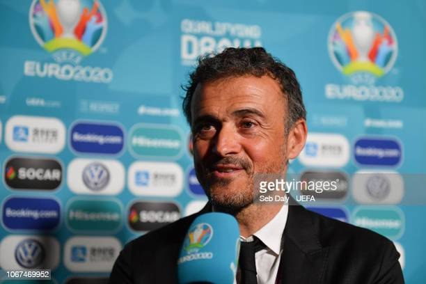 Spain head coach Luis Enrique during post draw flash reactions following the UEFA Euro 2020 Draw on December 2 2018 in Dublin Ireland
