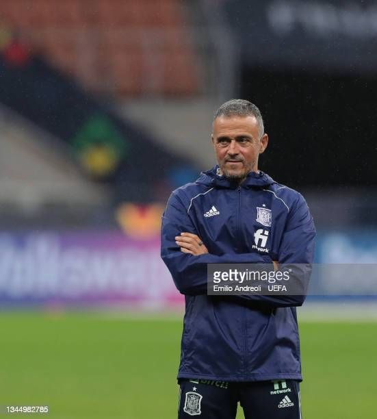 Spain head coach Luis Enrique looks on during the Spain training session ahead of the UEFA Nations League Semi-final match between Italy and Spain at...