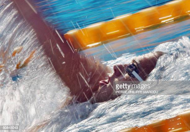Hungarian gold medalist Laszio Cseh competes during the men's 400m individual medley finals at the European Swimming Championships in Madrid 16 May...