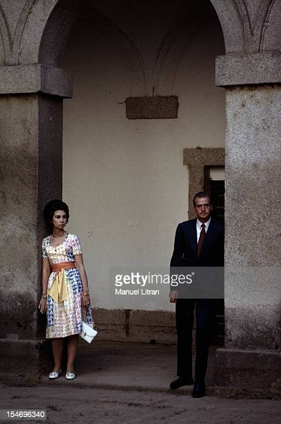 Spain in July 1971 Juan Carlos of Spain and his wife SOPHIE two other tourists the streets of St Jacques de Compostela